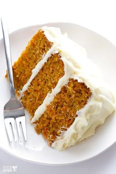 The BEST Carrot Cake Recipe -- perfectly moist and delicious, and made with a downright heavenly cream cheese frosting! | gimmesomeoven.com