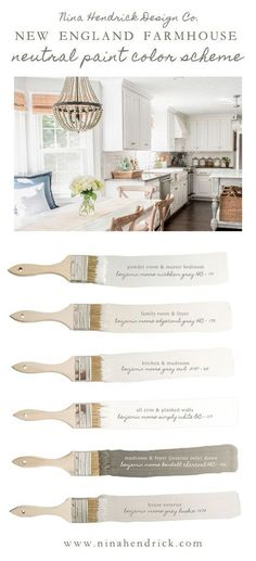Nina Hendrick Design Cos New England Farmhouse Neutral Paint Color Scheme A neutral and soothing color scheme for your entire home using a combination of natural colors Paint Color Schemes, Neutral Color Scheme, Neutral Paint, Home Color Schemes, House Color Schemes Interior, Gray Paint, Neutral Kitchen Colors, Neutral Wall Colors, Interior Paint Colors