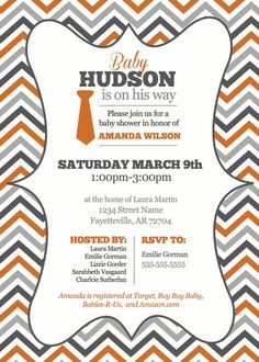 Chevron Baby Shower Invitation for Boy by YellowDeskDesigns, $15.00