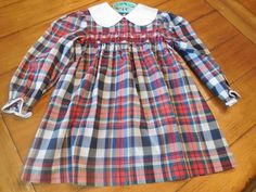 Size 3 4 5 Toddler Girl  Plaid Smocked Embroidered by LittleMarin