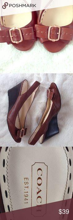 Coach Brown Leather Sling Back Wedges Coach heels. Brown leather, sling backs, wedges. Size: 10B. Overall good condition. Minor scuffs on back of heels (see pictures). Price reflects flaws. Coach Shoes Wedges