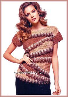 Вязать свитер с короткими рукавами - 26 Сентября 2016 - Вязание спицами, модели и схемы для вязания на спицах