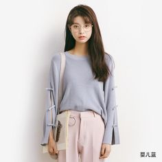Straps Long Trumpet Sleeves Loose Sweater