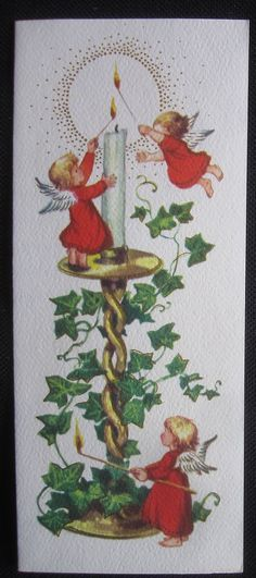 Vintage Christmas Greeting Card Angels Lighting Candle Mid Century