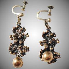 Modernist Organic Bronze Screw Back Earrings Screw Back Earrings, Drop Earrings, Scandinavian, 1960s, Organic, Retro, Jewelry, Finland, Jewlery