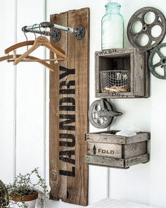 100 Fabulous Laundry Room Decor Ideas You Can Copy - laundry room decor idea with repurposed #wood #rustic wall sign. Love it! #LaundryRoomDesign #HomeDecorIdeas
