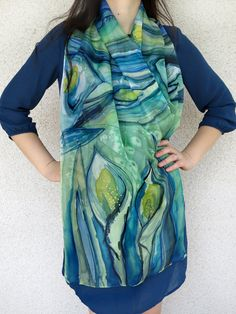 Silk Scarf Hand Painted Blue Green Flowers Calla Lilies silk