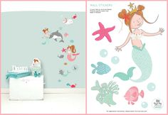 MERMAID 'LISA' WALL STICKER  Turn your little girl's room into a underwater world with this sweet wall sticker of Lisa as mermaid. Add also the wall stickers of mermaid Lilly, Lotje, Dottie and Pip to make the story complete or combine it with the Lisa & Lilly mermaid wallpaper. Use them on the wall or decorate a linen closet, commode or room door with this sweet sticker. The wall stickers are made ​​from high quality matte vinyl and are very easy to apply.