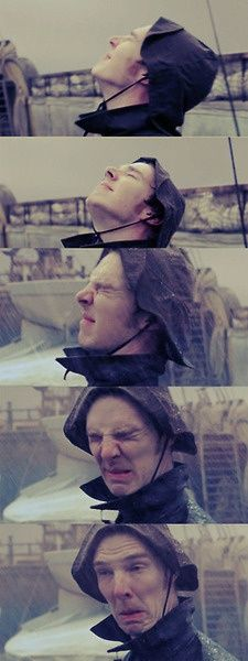 Benedict Cumberbatch and rain.<=== Are we not gonna talk about the fact that he's wearing a rain bonnet? XD