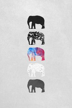 Five elephants Art Print