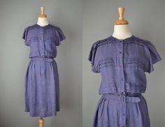 Vintage 60s Purple Linen Day Dress // Medium-Large #vintage #vintagedress #60s #madmen #wiggledress