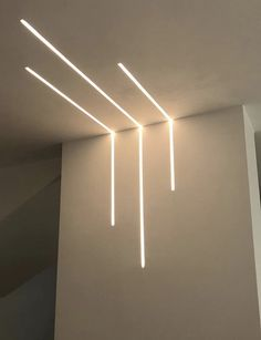Kitchen Ceiling Design, House Ceiling Design, Bedroom False Ceiling Design, Ceiling Light Design, Linear Lighting, Strip Lighting, Modern Lighting, Lighting Design, Staircase Interior Design