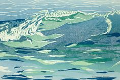 woodblock print - wave in green and blue via Etsy