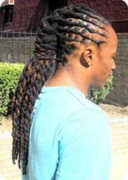 Flat twisted, braided, and double stranded combination loc style.