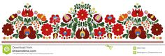 Hungarian Embroidery Border Pattern Stock Vector - Illustration of hungarian, border: 56241982 Embroidery Patterns Free, Learn Embroidery, Floral Embroidery, Hand Embroidery, Embroidery Designs, Jacobean Embroidery, Mexican Embroidery, Hungarian Embroidery, Chain Stitch Embroidery