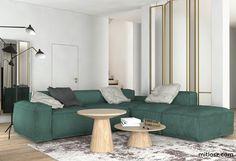 LIving room with green sofa. Project by NADIA MITŁOSZ & KARINA TUMOYAN / www.mitlosz.com