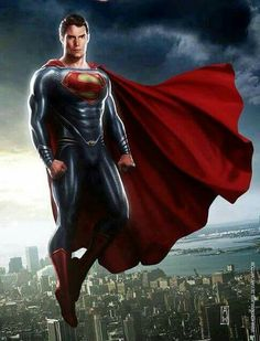 Superman (Kal-El) Man of Steel (Henry Cavill) Superman Henry Cavill, Batman Vs Superman, Superman Black Suit, Mundo Superman, Superman Movies, Superman Man Of Steel, Dc Movies, Superman Stuff, Marvel Comics