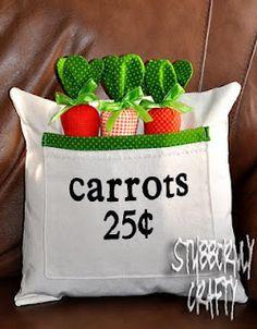 Easter Pillow Cover- Carrots 25 Cents  @stubbornlycrafty.blogspot.com