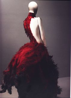 """Alexander McQueen Spring/Summer 2001  Dress, VOSS Red and black ostrich feathers and glass medical slides painted red   Photographed by Sølve Sundsbø for Alexander McQueen: Savage Beauty   """"There's blood beneath every layer of skin."""""""