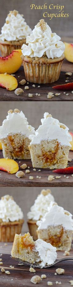 Peach Crisp Cupcakes filled with peach compote and topped with Swiss meringue buttercream. A perfect crumble topping is baked right on top of the cupcake! ~American Heritage Cooking #cupcakes #peach #buttercream