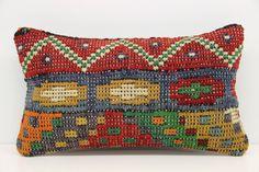 Turkish Lumbar Kilim Pillow Cover 12 x 20 by kilimwarehouse