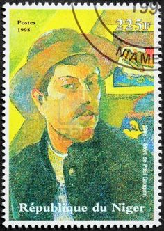NIGER - CIRCA 1998  A postage stamp printed by Niger shows image portrait of famous French Post-Impressionist artist Paul Gauguin, circa 1998  Stock Photo