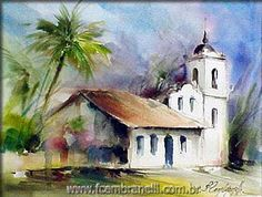 Watercolors, Oils and Acrylics by Brazilian artist Fabio Cembranelli featuring a gallery of original paintings, art tutorials, watercolor tips and his daily paintings. Watercolor Paintings For Beginners, Watercolor Art Paintings, Watercolor Canvas, Watercolor Sketch, Watercolor Artists, Watercolor Landscape, Landscape Art, Beautiful Landscape Paintings, Romantic Paintings