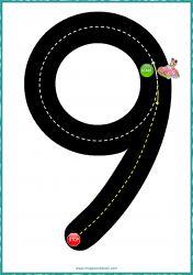 Number 9 - Math Activities for Preschoolers - Kindergarten Math Activities - Road Number Car Race Kindergarten Math Activities, Number Activities, Alphabet Activities, Preschool Worksheets, Teaching Math, Numbers Preschool, Learning Numbers, Free Math, Math For Kids