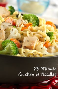 This quick and easy skillet dish features all your favorite ingredients from chicken noodle soup, but without the soup. Perfect for a busy day, this recipe for 25 Minute Chicken & Noodles will satisfy the whole family. Creamy Chicken And Noodles, Chicken Noodle Recipes, Soup Recipes, Chicken Noodles, Dinner Recipes, Cooking Recipes, Healthy Recipes, Chicken Soup, Cooked Chicken