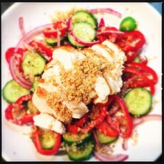 My Grilled chicken, toasted quinoa and pickled pepper salad recipe
