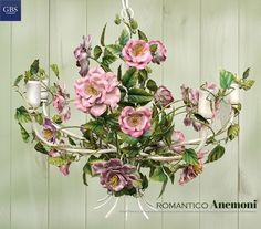 Anemones Chandelier. Lampadario Anemoni. Hand painted wrought iron. GBS, made in Florence since i925