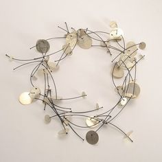 """Enric Majoral - Necklace, Sterling Silver Disks with Nylon, """"Pluja,"""" 18"""" Long"""