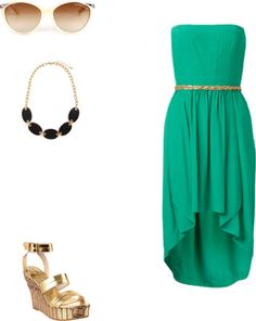 green high low dress, gold platforms, black and gold bauble necklace, gold sunglasses