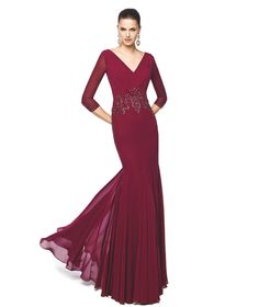 Long burgundy cocktail dress with a pleated skirt Nerea - Pronovias 2015 a67b00a6d9
