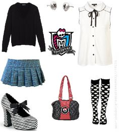 Frankie Stein (Monster High) inspired school outfit
