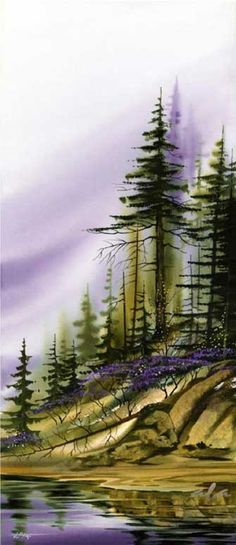 Misty evergreen trees watercolor painting with purple sky. Art Aquarelle, Watercolor Trees, Watercolor Landscape, Watercolour Painting, Landscape Art, Landscape Paintings, Watercolors, Watercolor Artists, Watercolor Portraits
