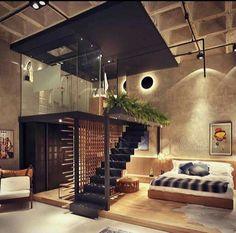 Très original, l'utilisation de la hauteur pour superposer la salle de bain au dressing http://www.edifit.fr #loft #mezzanine #industriel #atelier #cuisine #déco #béton #dressing #chambre #bois #métal  #design #Newyork #Newyorkais #LoftIndustriel  #LoftAtelier #LoftCuisine #LoftDéco  #LoftDesign