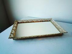 Vintage Dresser Mirror / Vintage Pierced Floral Filigree Dresser Mirror Tray #vintagedressermirror #dressermirror #makeupmirror #cottagechic #bedroommirror #perfumemirror