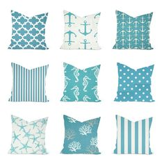 How to make nautical decor. Unusual, special maritime gifts, nautical interior decoration, personalized style, and fine art Nautical Pillow Covers, Blue Pillow Covers, Nautical Pillows, Nautical Bathroom Design Ideas, Nautical Interior, Nautical Home, Aqua Bedrooms, Bedroom Themes, Bedroom Colors