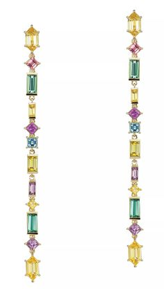 Long, lean, and lovely—Jane Taylor captures the spirit of spring in a perfect pair of shoulder-dusting stiletto earrings. ($8,525, janetaylor.com)