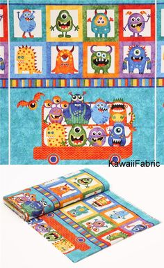 colorful fabric colorful monster bus square by Northcott Stonehenge Monsters - Kawaii Fabric Shop Michael Miller, Stonehenge, Halloween Stoff, Halloween Fabric, Red Bus, Textiles, Modes4u, Kawaii, Monster Design