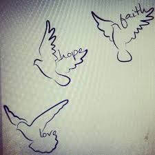 Bird tattoo drawing with names on napkin 3 three sketch words love hope faith