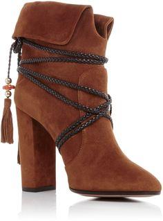 6a49de4aed3d Aquazzura X Poppy Delevingne Suede Moonshine Ankle Boots Bohemian Boots