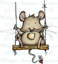 Mouse on Swing - Mice - Animals - Rubber Stamps - Shop