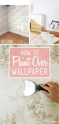 painting walls Removing old sheets of wallpaper can be a major pain. Not only is it an extra step to take in the midst of a remodel, but the paper may adhere to a solid wall rather than a layer of drywall. Removal is extremely difficult and may even damage the structure. Avoid this potential headache and general hassle, by painting over existing wallpaper. http://www.ehow.com/how_7878268_apply-paint-over-wallpaper.html?utm_source=pinterest.com&utm_medium=referral&utm_content=freestyle&utm_campaign=fanpage