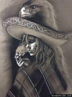 Charra with Aztec Eagle - Chicano Art