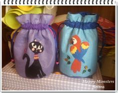 Bolsas Infantiles hechas a fieltro. Por Happy monsters fieltro