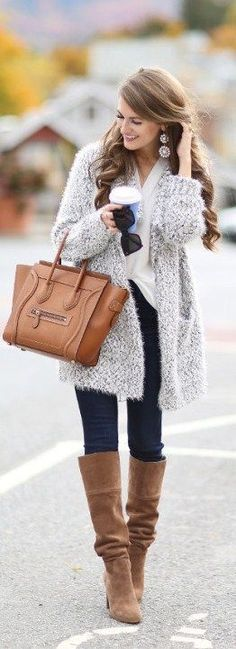 gray cardigan and tall boots