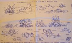 VINTAGE EMBROIDERY TRANSFER SWANS AND FISH