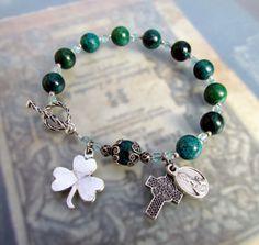 Irish Catholic Rosary Bracelet Green Shamrock by GracefulRosaries, $15.00